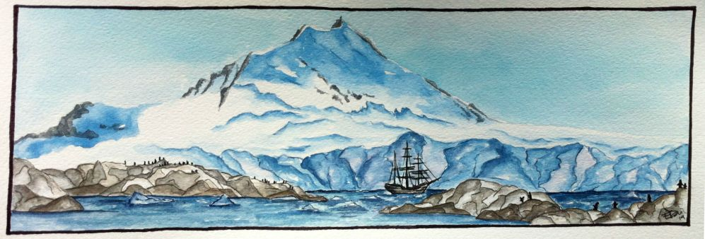 aquarelle bateau-manchots