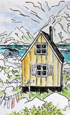 aquarelle maisons kulusuk