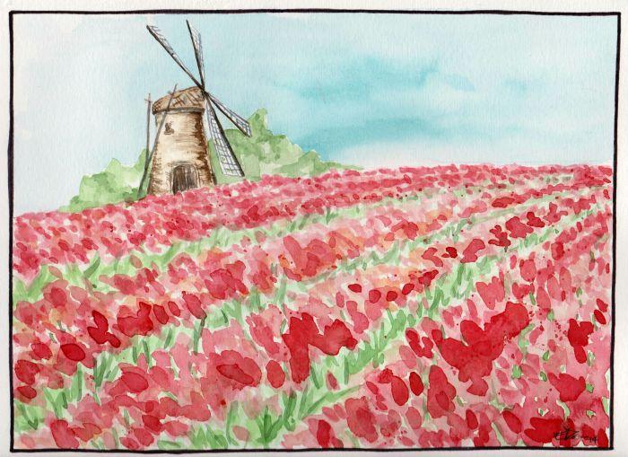 Aquarelle tulipes et moulin