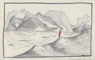 Marie en comtemplation; fjord Angmassalik
