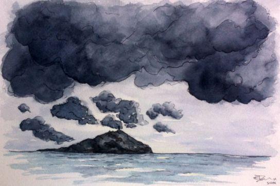 aquarelle ciel gris